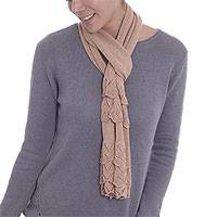 Cotton scarf, 'Frilly Beauty' - Eco-Friendly Frilly Cotton Wrap Scarf in Buff from Peru