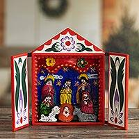 Wood retablo, 'Holy Family with the Magi' - Handmade Ayacucho Ceramic Folk Art Christmas Retablo Diorama