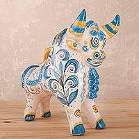 Ceramic sculpture, 'Little Bull with Flowers' - Hand-Painted Floral Ceramic Bull Sculpture from Peru
