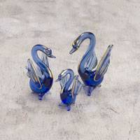Blown glass figurines, 'Swan Trio' (set of 3) - Three Blue Gold Leaf Blown Glass Swan Figurines from Peru