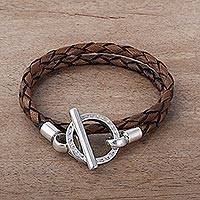 Leather braided wrap bracelet, 'Braided Sepia' - Handcrafted Braided Brown Leather Silver 925 Wrap Bracelet