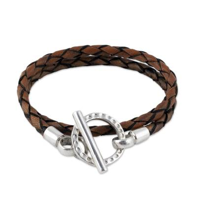 Handcrafted Braided Brown Leather Silver 925 Wrap Bracelet