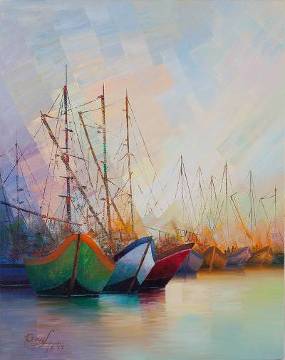 'Tasks at Dawn' - Peru Signed Original Oil Painting of Fishing Boats
