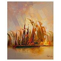 'Battle on the High Seas' - Signed Oil on Canvas Original Painting of a Sailboat Regatta