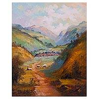 'Ancestral Valley' - Peruvian Landscape Painting of a Highlands Valley Village