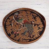 Reverse-painted glass tray, 'Mystic Peacock in Gold' - Reverse-Painted Glass Peacock Tray from Peru