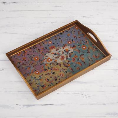 Reverse painted glass decorative tray, 'Psychedelic Flowers' - Colorful Reverse Painted Glass Decorative Tray from Peru