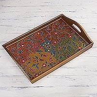 Reverse-painted glass tray, 'Margarita Field' - Floral Reverse-Painted Glass Tray from Peru