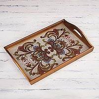 Reverse painted glass decorative tray, 'Tropical Arrangement' - Handmade Reverse Painted Glass Decorative Tray from Peru