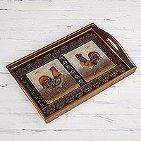 Reverse painted glass decorative tray, 'Crowing Roosters' - Rooster-Themed Reverse Painted Glass Decorative Tray