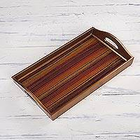 Reverse painted glass tray, 'Contemporary Stripes' - Striped Reverse Painted Glass Tray from Peru