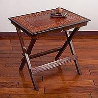 Wood and leather folding table, 'Fern Arabesque' - Artisan Crafted Folding Table in Tooled Leather on Wood