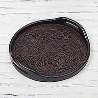 Leather and wood decorative tray, 'Colonial Flowers' - Handcrafted Floral Leather and Wood Tray from Peru