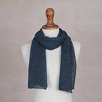 100% baby alpaca scarf, 'Wavy Texture in Teal' - Textured 100% Baby Alpaca Wrap Scarf in Teal from Peru