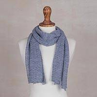 100% baby alpaca scarf, 'Steel Blue Gossamer' - 100% Baby Alpaca Wrap Scarf in Steel Blue from Peru
