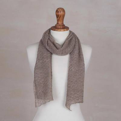 100% baby alpaca scarf, 'Wavy Texture in Taupe' - Textured 100% Baby Alpaca Wrap Scarf in Taupe from Peru