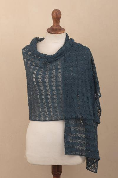 100% baby alpaca shawl, 'Dreamy Texture in Teal' - Textured 100% Baby Alpaca Shawl in Teal from Peru