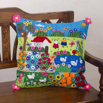 Cotton cushion cover, Happiness in the Country