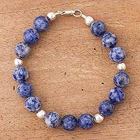 Sodalite beaded bracelet, 'Circle in the Sky' - Handcrafted Sodalite Beaded Bracelet with Sterling Silver