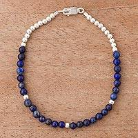 Lapis lazuli beaded bracelet, 'Blue Belle' - Andean Lapis Lazuli Bracelet with Sterling Silver Beads