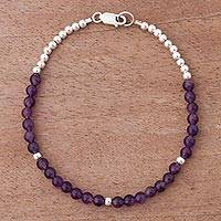 Amethyst beaded bracelet, 'Orchid Belle' - Sterling Silver and Amethyst Andean Fashion Bracelet