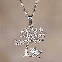 Sterling silver pendant necklace, 'Treebound Rabbit' - Rabbit and Tree Sterling Silver Pendant Necklace from Peru