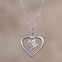 Sterling silver pendant necklace, 'Bird of Love' - Sterling Silver Dove and Heart Pendant Necklace from Peru