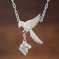 Sterling silver pendant necklace, 'Dove's Message' - Peace-Themed Sterling Silver Pendant Necklace from Peru