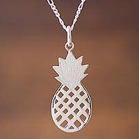 Sterling silver pendant necklace, 'Exotic Pineapple' - Sterling Silver Pineapple Pendant Necklace from Peru