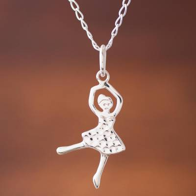 Sterling silver pendant necklace, 'Majestic Dance' - Dance-Themed Sterling Silver Pendant Necklace from Peru