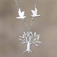 Sterling silver pendant necklace, 'Eternal Life' - Dove and Tree Sterling Silver Pendant Necklace from Peru