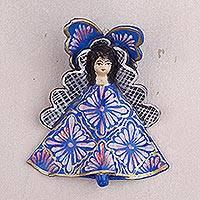 Plaster wall sculpture, 'Celebration of the Virgin' - Hand-Painted Plaster Wall Sculpture of Mary from Peru