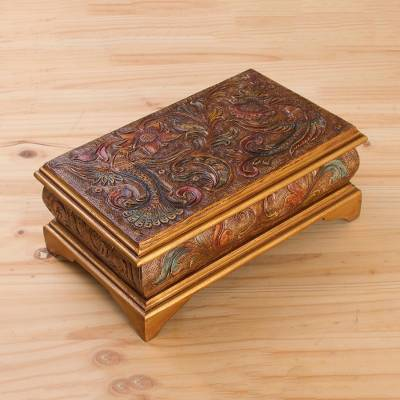 Leather decorative box, 'Colonial Reality' - Hand-Tooled Bird-Themed Leather Decorative Box from Peru