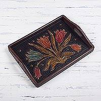 Leather tray, 'Flowering Tulips' - Hand-Tooled Floral Leather Tray from Peru
