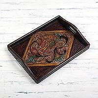 Leather tray, 'Colonial Majesty' - Colonial Floral Leather Tray from Peru