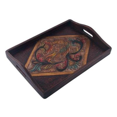 Colonial Floral Leather Tray from Peru