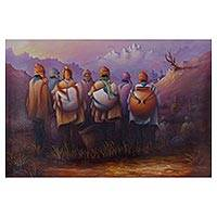 'Melody of the Andes' - Signed Realist Painting of Andean Men from Peru