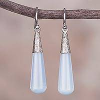 Sterling silver dangle earrings, 'Glowing Drops' - Sterling Silver and Glass Dangle Earrings from Peru