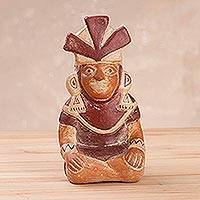 Ceramic replica sculpture, 'Mochica Warrior' - Ceramic Peruvian Replica Figurine of a Moche Warrior Vessel