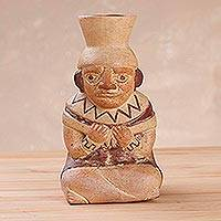 Ceramic statuette, 'Mochica Carrier' - Decorative Statuette of Ancient Mochica Ceramic