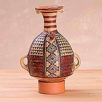 Ceramic replica sculpture, 'Inka Aribalo' - Handcrafted Inca Aribalo Vessel Replica Sculpture from Peru