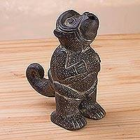 Ceramic replica sculpture, 'Howler Monkey' - Ceramic Howler Monkey Chavín Culture Replica Figurine Peru