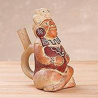 Ceramic statuette, 'Legendary Mochica' - Ceramic Peruvian Mochica Seated Warrior Vessel