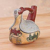 Ceramic sculpture, 'Nazca Bird Whistle Bottle' - Ceramic Replica Sculpture of a Whistle Bottle from Peru