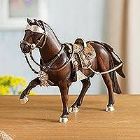 Sterling silver accented mahogany wood sculpture, 'Paso Horse' - Sterling Silver and Caoba Wood Horse Sculpture from Peru