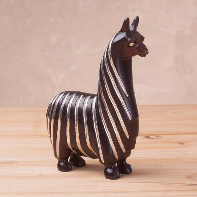 Sterling silver accented wood sculpture, Suri Llama