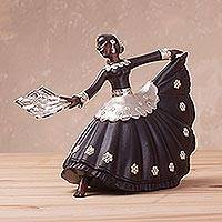 Sterling silver and wood sculpture, 'Marinera Dancer' - Sterling Silver and Caoba Wood Dancer Sculpture from Peru