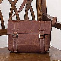 Leather messenger bag, 'Sober Style in Chestnut' - Handcrafted Leather Messenger Bag in Chestnut from Peru