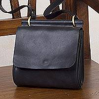 Leather messenger bag, 'Smooth Operator' - Handcrafted Leather Messenger Bag in Black from Peru