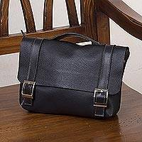 Leather messenger bag, 'Business Class' - Handcrafted Black Leather Messenger Bag from Peru
